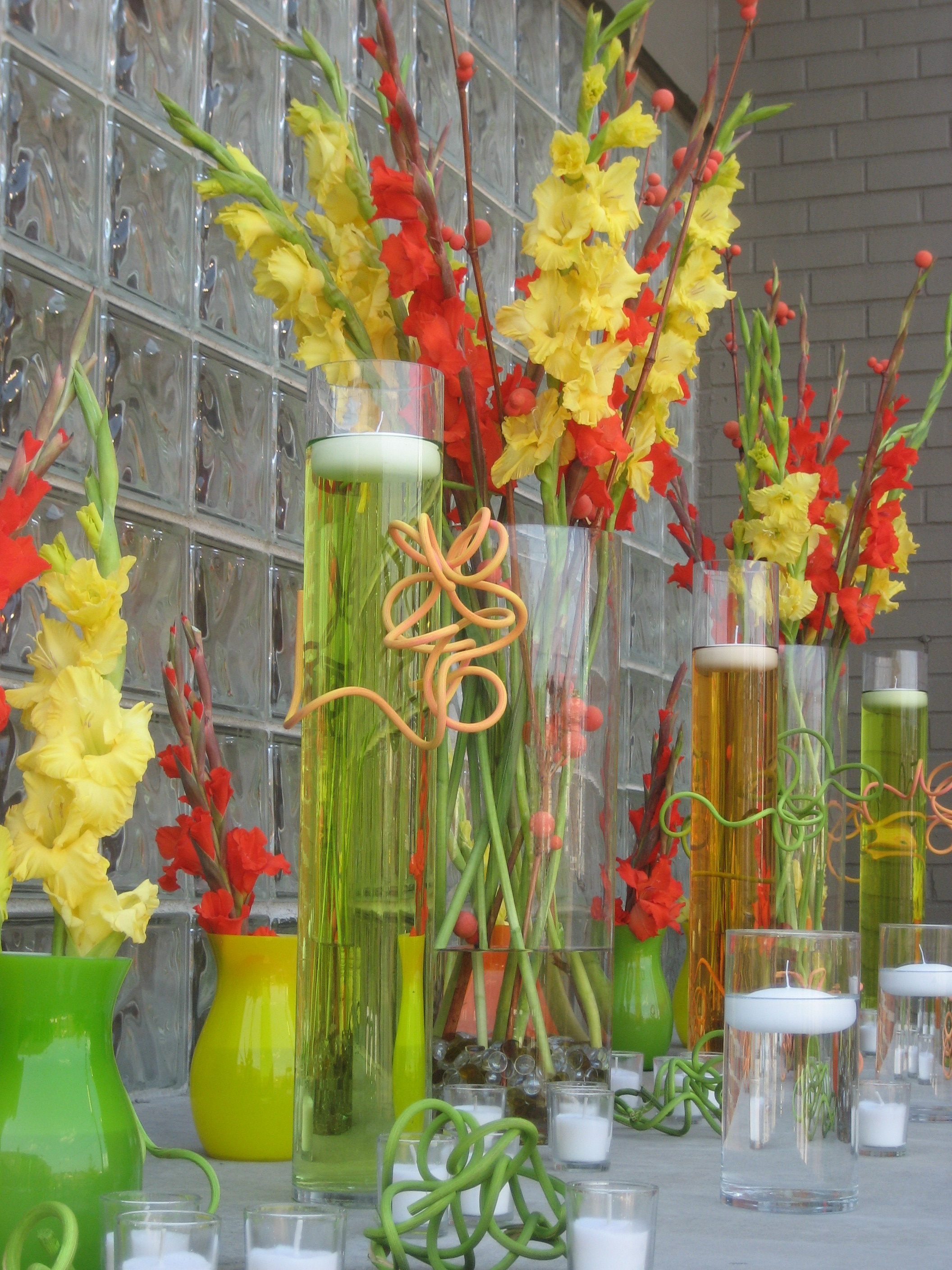 Hot Colors Contemporary Wedding Reception Branching Out Event Florist