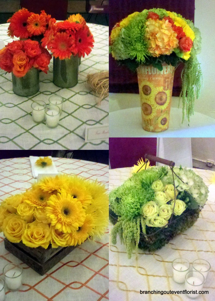 Bright summer flower centerpieces in vintage containers