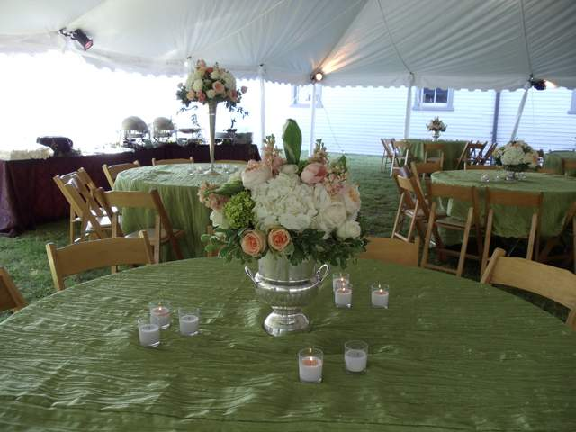 Centerpiece in silver wine cooler